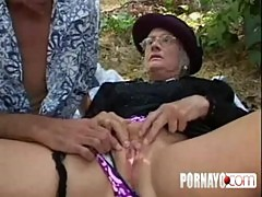 Gray haired granny gets facial after butt fuck