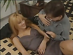 blonde get facial on bed
