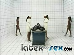Four hot nurses in latex give head to a guy