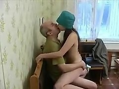 Old guy bangs sexy Russian teenager