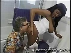 This Ebony Babe With Massive Tits And Her Girlfriend Are Bad With Old White Cocks