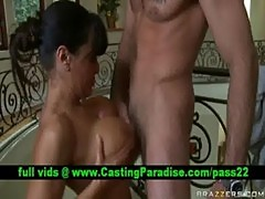 Lisa ann, brunette milf blowjobs huge cock