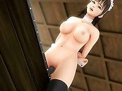 Animated babe with stockings gets masturbated