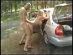 Busty Blonde Goes After Some Cock Work In The Car And Gets Analized