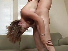 Pale brunette mom does deep throat to meaty cum shooter
