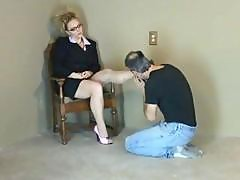 Blonde Has Her Slave Kiss And Lick Her Feet And Walks All Over Him