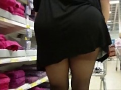 Black tights and a very short mini dress