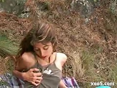 skinny french girl take anal outdoor