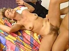 Curly-haired Mature Blonde With A Hairy Pussy Gets It On With A Stud