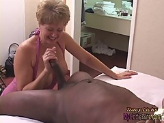 Tracy Licks.....Takes MrNuttz's 9 inch, big, black cock!!