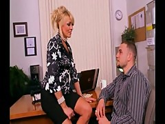 Busty blonde cougar banged in office
