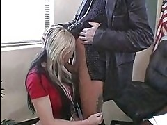 Busty chick Riley Chase kneels down a hot stud and sucks his...