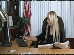 Hot blonde babe fucked at the office