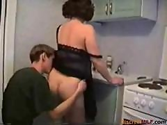 Russian mom gets fucked in the kitchen