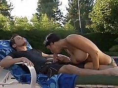 Hot naked Dylan Ryder is poked by the pool after a good meat...