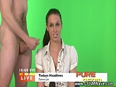 Dirty news reader gets wanked on by horny guys on air