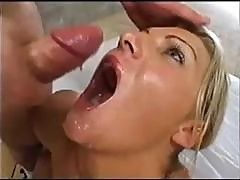 Nasty Blonde Teenie Gal Ashley Gets Her Face Fucked And Some Hot Dp