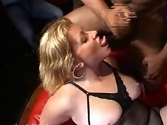Chubby French Blonde Stuffed in BBC Gangbang